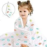 Caiery Baby Badetuch/Soft & Cozy 6 Schichten Musselin Baumwolle Babydecke,Kinderwagen Decke unisex, 100% Muslin Cotton,super saugfähig Baby Geschenk zur Geburts kleinkinder,110 X 110CM,Fisch