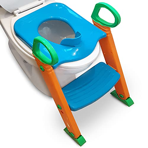 Alayna Potty Training Seat with Ladder Upgraded Splashguard Potty Training Toilet Step Stool for Kids Toddlers w/ Handles Sturdy Safe Adjustable Height Anti-Slip Pads Easy Fold Trainer Boys Girls Baby