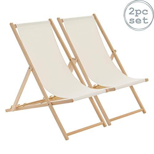 Harbour Housewares Tumbona reclinable y Plegable - Ideal para Playa y jardín - Estilo Tradicional - Crema - Pack de 2