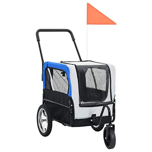vidaXL Remolque Bicicleta Perros Impermeable Plegable Ventilación Capa Lluvia Bandera Carrito Transporte Mascotas Transportín Universal Bici Gris Azul