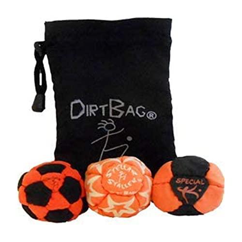 DirtBag Medley Footbag 3-Pack Hacky Sack Set with Pouch, Handmade,, Premium, Signature Carry Bag