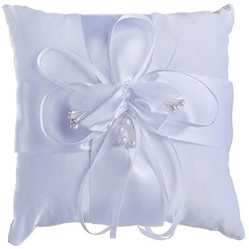 Cuscino per Fedi Nuziali Bianco e Impeccabile Cuscino Portafedi con Fiocco a Forma di Fiore e Tante Perle Nuziale Anello Nuziale Cuscino per Fedi e Decorazioni (Bianco 15X15cm)