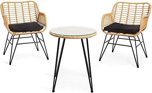 Bistro ratán natural, con una mesa de vidrio - mesas de mimbre tejidas a mano bistro y sillas de acero - cojines bistro lluvia,Beige