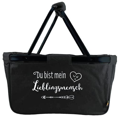 Mein Zwergenland Einkaufskorb Lieblingsmensch, Korb klappbar 28 L, Faltkorb schwarz mit Spruch