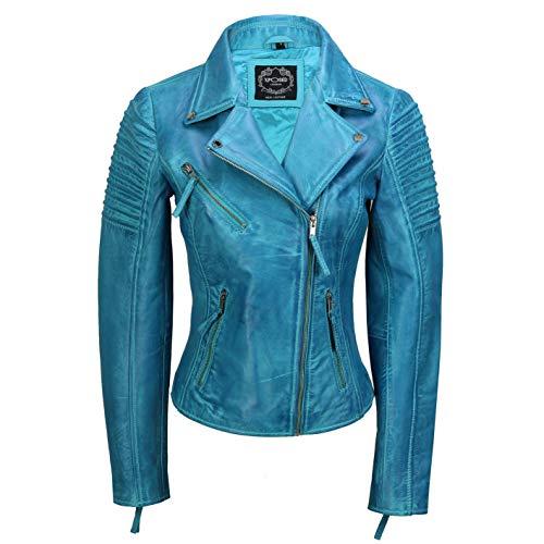 Xposed Chaqueta de motociclista para mujer, estilo vintage, ajustada, suave, de cuero auténtico, talla UK 6-24, color Azul, talla 3X-Large