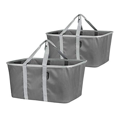 CleverMade Collapsible Fabric Laundry Baskets - Foldable Pop Up Storage Container Organizer Bags - Large Rectangular Space Saving Clothes Hamper Tote with Carry Handles, Pack of 2, Charcoal