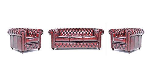 Conjunto Sofás Chester Rojo Gastado - 1/1/3 plazas - Hecho artesanal en cuero natural …