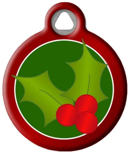 Dog Tag Art Christmas Holly Custom Pet ID Tag for Dogs (Small), Cute, Funny Christmas Dog Tags and Cat Tags, Personalized Dog Tags with Customized Identification Information