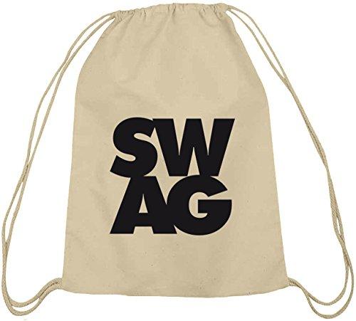 Shirtstreet24, SWAG, Swagger Hip Hop Baumwoll natur Turnbeutel Rucksack Sport Beutel, Größe: onesize,natur