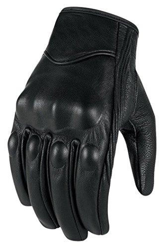 Bikers Gear The Warriors; kurze Leder Motorrad-Handschuhe für den Sommer, schwarz.