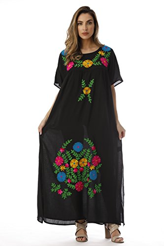 Riviera Sun Long Embroidered Dresses for Women 21861-BLK-L Black