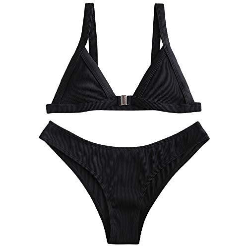 ZAFUL Damen Triangel Front Schließung Bikini Set Bademode Schwarz S