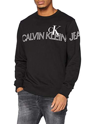 Calvin Klein Outline Logo Crew Neck Maglione, CK Black, XS Uomo