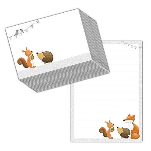 """Briefpapier/Briefblock\""""WALDTIERE DIN A5 (liniert 50 Blatt) inklusive 20 passenden Umschlägen/für Briefpapier Set, Briefpapier Kinder,"""
