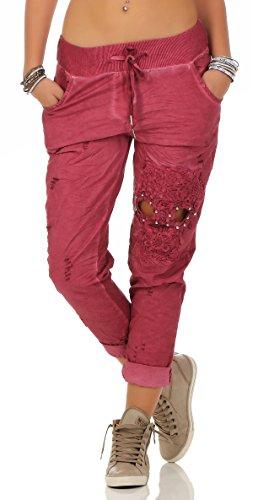 Mississhop 206 Damen Hose Freizeithose Stoffhose Elegante Haremshose mit Stickerei Totenkopf Tunnelzug One Size S M L Rot