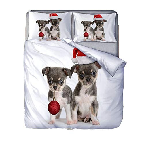 YZDM Christmas Animals 3D Deer and Dogs Duvet Cover Bedding Set, Microfibre Bedding Set, for Adults and Children Home Christmas Decoration (E,200x200)
