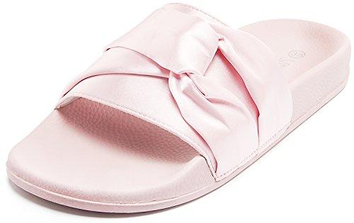Sandalup SANDALUP Damen Bequem Pantolette mit Satin,Rosa,36