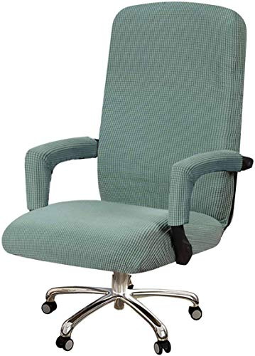 Stretch Office Chair Covers With Armrest Covers, Removable Computer Chair Slipcovers Spandex Jacquard Fabric For Swivel Armchair Covers-green-X-large