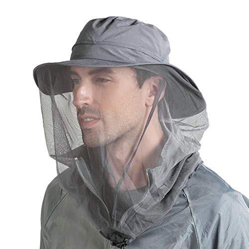 Mosquito Head Net Hat, Hat Sun Hat Bucket Hat with Hidden Net Mesh Protection from Insect Bug Bee for Outdoor Dark Gray