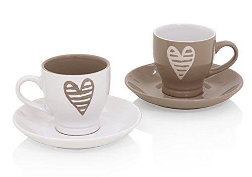 Brandani 55676, tazzina caffe Batticuore colore tortora e avorio set 2 pezzi in stoneware