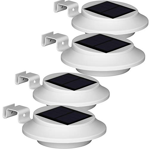 Dachrinnen Solarleuchten - BILLION DUO Solarlampen Für Außen, IP65 Garten Solar dachrinnenbeleuchtung, 1500mAh Wandlampe Außen Kaltweißes Licht, 6 LED Sicherheitswandleuchte Für Zaun,Terrasse,Hof