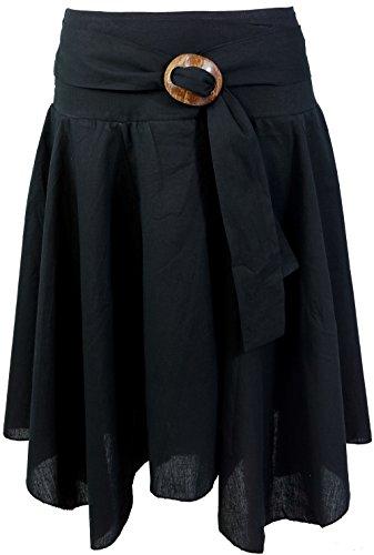 GURU-SHOP, Rock Boho Chic with Coconut Buckle, Black, Cotton, Size: 38, Short Skirts