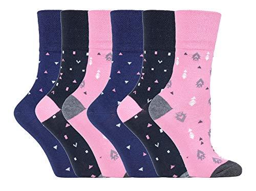 Gentle Grip - 6er Pack Damen Baumwolle Ohne Gummib& Socken   Socken mit Bunt Elegant Motiv (37/42, SOLRH205)