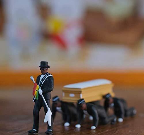 ZHUANQIAN Garage KIT PVC Figur Neger trägt einen Sarg Tanzsammlung Animierte Figur Modell Statue Dekoration Ghanaische Bräuche Trauer Spaß Parodie