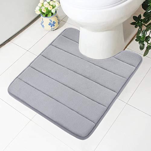 Homaxy Memory Foam rutschfeste Ständer Badematten Weiches, Wasser Saugfähig WC Teppich Waschbar Badteppiche (Grau, 50X60cm)