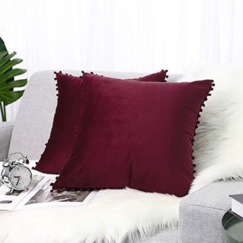 Lewondr Velvet Cushion Cover, 2 Pack Soft & Luxurious Pom Pom Throw Pillow Case Cover Sofa Cushion Covers Sham with Tassel Balls for Home Bed Car Seat Christmas Decor 18'x18'(45x45cm), Burgundy