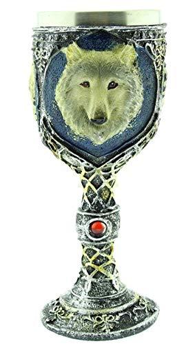 Kelch mit wolf - 3d - mittelalterlich - ritterkelch - hund - mittelalterlich - tasse - originelle geschenkidee - emblem - halloween - edelstahl - getränke - harz - gothic - wikinger - wein - horror