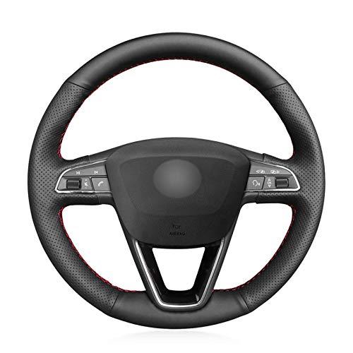 LUOERPI Cubierta del Volante del Coche Cosida a Mano,para Seat Leon 5F Mk3 2013-2019 Ibiza 6J Alhambra 2016-2019 Arona 2018-2019,Cubierta de la manija de dirección de Cuero de Microfibra