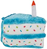 ZippyPaws - Birthday Cake Squeaky Dog Toy with Soft Stuffing - Blue