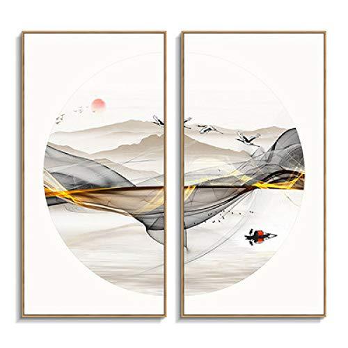 WSNDG Verticale inkt decoratieve schilderij abstracte ronde theekamer studie dubbele canvas schilderij zonder fotolijst 50x180cmx2 E4