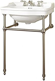 Barclay 750WH-CP Cali 24 inch Console with Stand, White, 8 inch Widespread, Polished Chrome Stand,