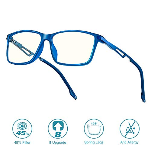 8 Upgrade 2020 Blue Light Blocking Glasses for Men Women, 45% Anti-bluelight UV Computer Screen Blocker for Reading/Gaming/Phones, Spring Leg Glare Glasses for Unisex Anti Eyestrain No Magnification
