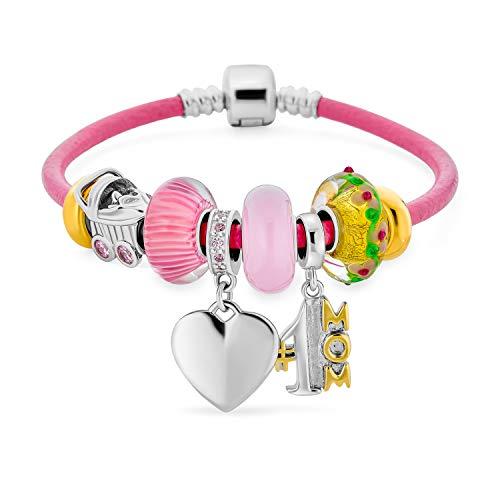 Personalizar grabado #1 MOM familia corazón tema cuentas multi encanto pulsera .925 plata esterlina rosa genuino cuero genuino barril europeo Snap Cierre pulseras 8 pulgadas personalizadas grabadas