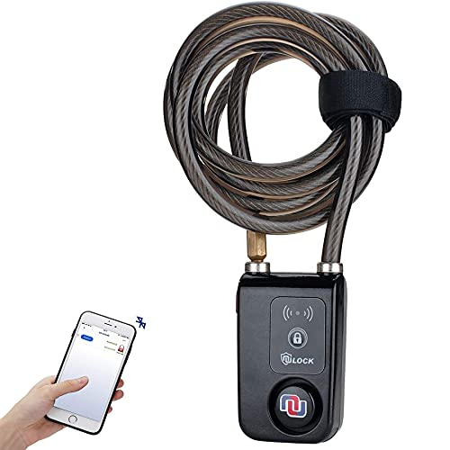 Alarmed Keyless Bluetooth Bike/Motorcycle/Gate Lock IP44 Splash-Proof Cycling Smart Lock with 110db Alarm, 0.38' Diameter Braided Steel Cable Nulock (2020 Version) - 6FT