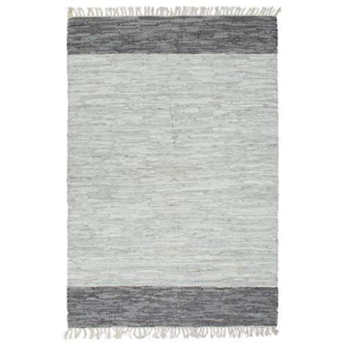 vidaXL Teppich Chindi Handgewebt Webteppich Handwebteppich Flickenteppich Fleckerlteppich Lederteppich Wohnzimmerteppich Leder 160x230cm Grau
