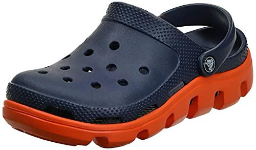 Crocs Duet SPRT CLG Blk/Char M7/W9, Zapatillas de Estar por casa con talón Abierto para Hombre, Azul Marino/Naranja, 41/42 EU