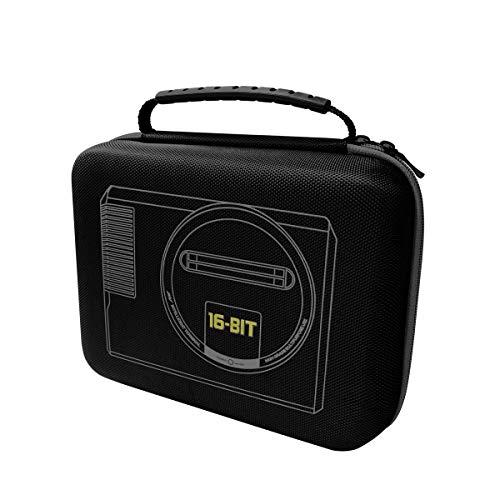 Custodia da trasporto per Sega Mega Drive Mini 2019 e accessori – 9 x 3,5 x 7,8 pollici nero con bordo grigio