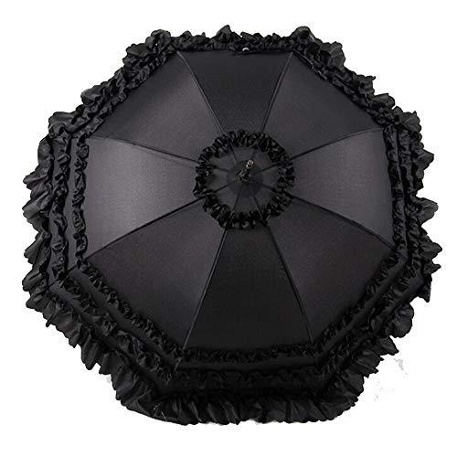 Yi-xir Experiencia Confortable Sombrilla de Encaje maquinaria de la manija de la Boda Paraguas de Viaje Compacto (Color : Black)