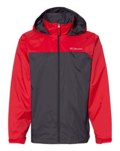Columbia Men's Glennaker Lake Lined Rain Jacket Outerwear, -shark, red spark, L
