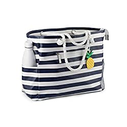 black and white tote with zippers