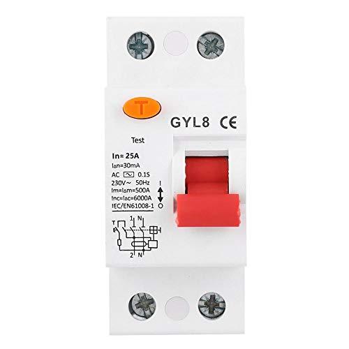 Disyuntor de Corriente Residual Ac230V, Gyl8 25/40/63A 2P Rccb Protección Contra Fugas Eléctricas, Dispositivo de Circuito Doméstico(25A)