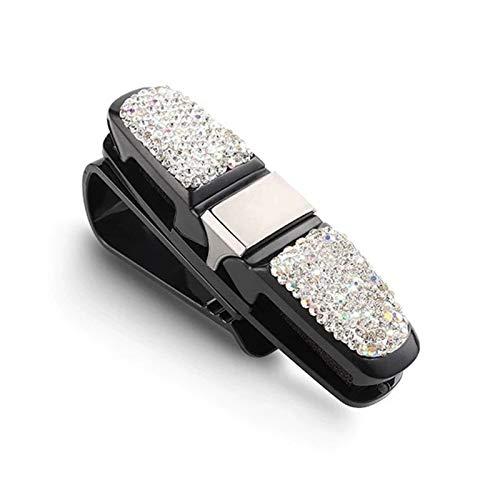 Ammily Soporte de cristal para gafas de sol de coche con clip universal de diamante para tarjeta de billete