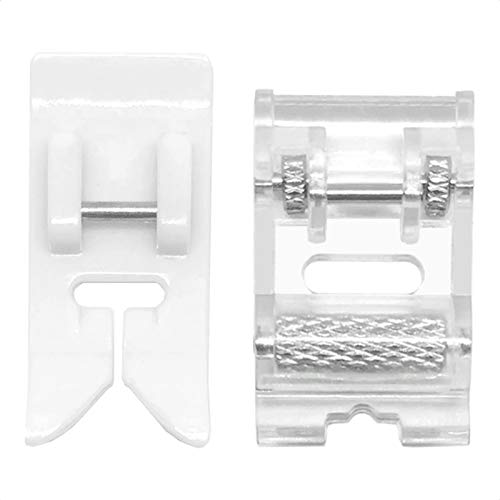 VANICE 2 Pcs Roller Sewing Machine Presser Foot Plus Non-Stick Zigzag Teflon Sewing Machine Presser Foot, Fit for Singer, Brother, Babylock, Low Shank Simplicity Sewing Machine