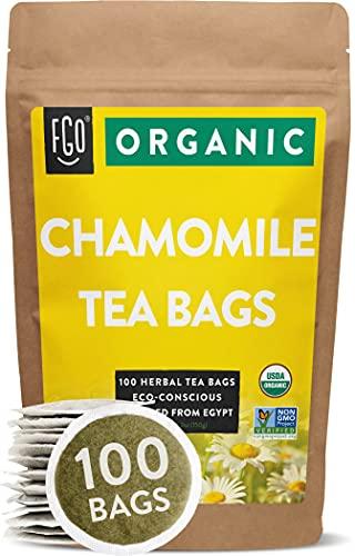 Organic Chamomile Tea Bags | 100 Tea Bags | Eco-Conscious Tea Bags in Kraft Bag | Raw from Egypt |...