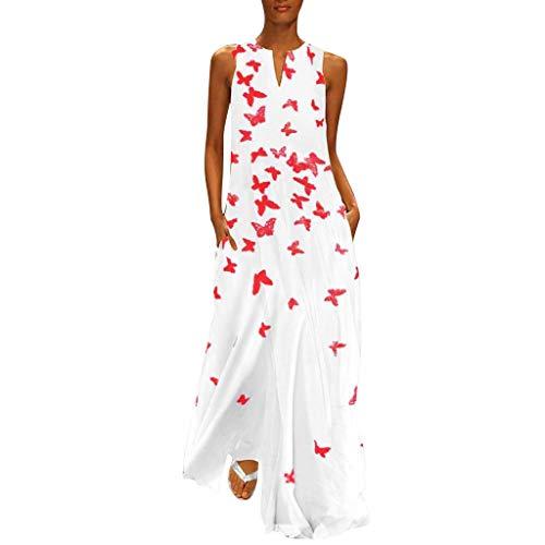 Fenverk Damen Lange Kleider Sommerkleid Leinenkleid Mode Tops Vintage Print Stickerei Oansatz Plus Größe Taschen Maxi Dress Einfarbig Bluse (C Weiß,XXXXL)