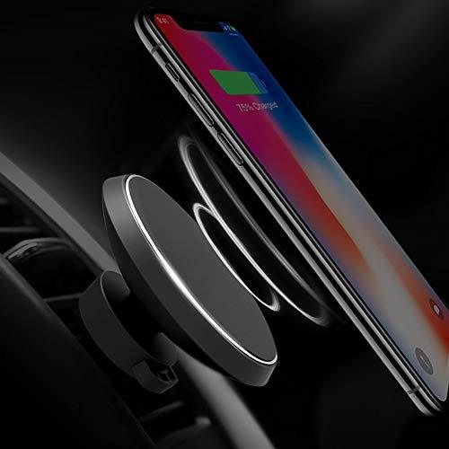 YSHtanj Kabelloses Kfz-Ladegerät, Innendekoration, magnetisches Qi-Ladegerät, kabelloses Kfz-Ladegerät, Halterung für iPhone 8 X Samsung – Schwarz W3